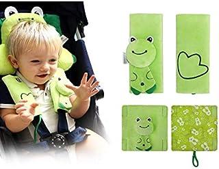 INCHANT Cartoon-Tier Softgeschirre Sicherheitsgurt-Bügel-Abdeckungen PADDs UNIVERSAL New Reversible Gemütlich, doppelte Schichten grüner Frosch