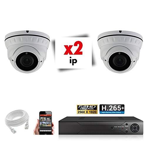 Kit de videovigilancia con 2 cámaras varifocales IP POE Pro Full HD H265 5 MP – 6000 GB, 2 cables de 20 m incluidos, pantalla de 22 pulgadas