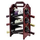 CAIJINJIN estante del vino Estante del vino de 6 botellas de vino en rack estantes de almacenamiento for la cocina barra americana Wine Rack Portable (Color: Marrón, Tamaño: 44x24x24cm) Almacenamiento