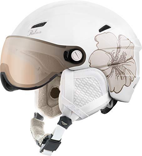 Relax Skihelm Stealth mit Visier | Snowboardhelm | Skihelmet | Race-Helm für Damen und Herren (Weiß, S (54-56cm))