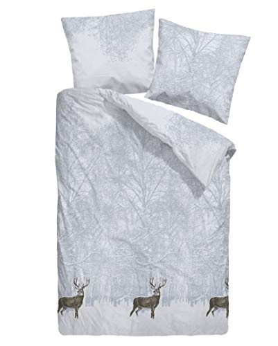 Dormisette Feinbiber Bettwäsche Hirsch weiß 1 Bettbezug 155 x 220 cm + 1 Kissenbezug 80 x 80 cm