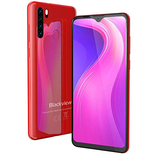 "Teléfono Móvil Libre 4G, Blackview A80 Plus Smartphone(2021), 6.49"" HD+ Water-Drop Screen, 64GB+ 4GB (SD 128GB), Batería 4680mAh, 13MP+ 8MP, Octa-Core, Dual SIM, NFC, GPS, Face ID - Rojo"