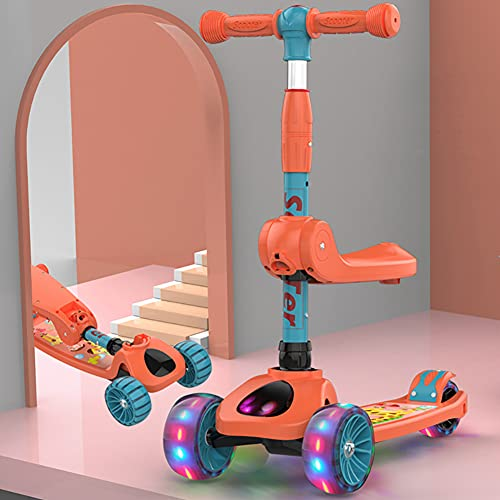 SXZSB Scooter para niños, Plegable 2 Scooter de Altura Ajustable con Asiento...