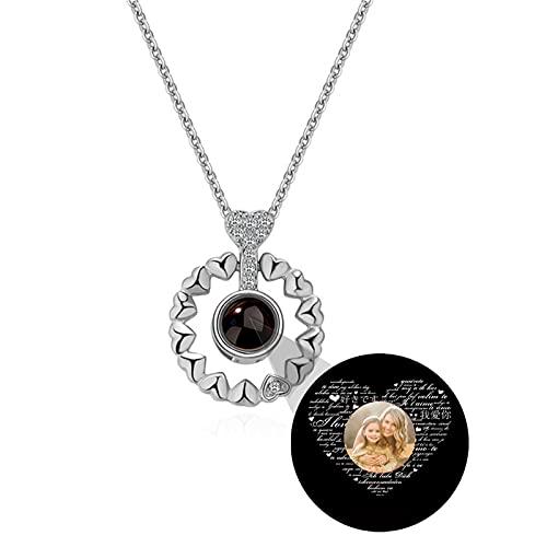 Collar de 100 idiomas TE AMO Collar de foto personalizado Collar de proyección Collar de memoria de amor Colgante de corazón(Plata a todo color 24)