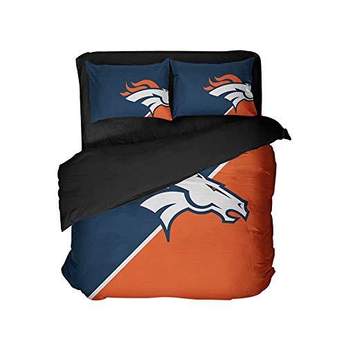 Denver Football Sports Bedding Top Sheet Sets Blue and Orange Bedspread Set Queen 4 Pieces for Men(King 3pcs)