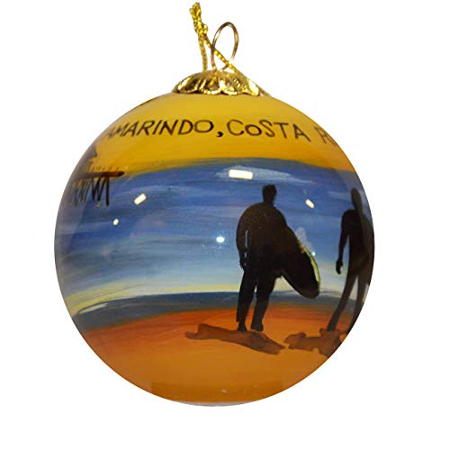 Art Studio Company Hand Painted Glass Christmas Ornament - Surfers On Beach Tamarindo, Costa Rica