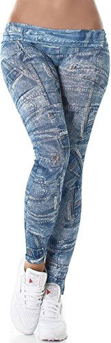 Ximanyi Damen Leggins Fleece Bedruckt Stoff gefüttert wärmend weich 7/8 Capri Print Jeans-Look Jeggings, Blau
