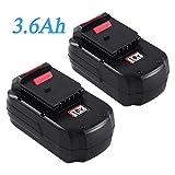 2Packs PC18B 3.6Ah Replacement for Porter Cable 18V Battery Ni-Mh PC18BL PC18BLX PC18B-2 PC188 PCC489N PCMVC PCXMVC 18-Volt Cordless Tools Batteries