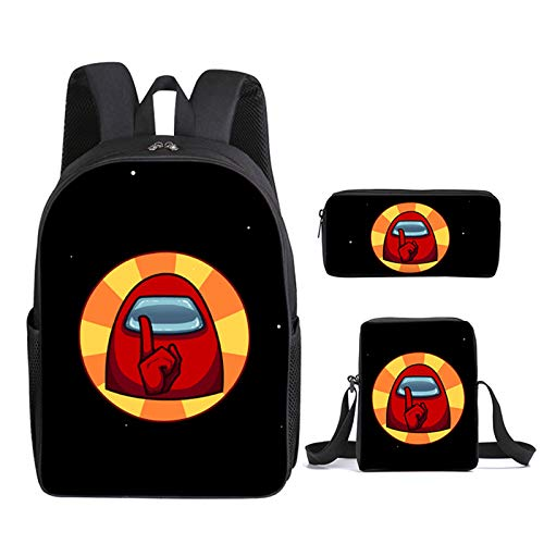 Among US 3pcs Backpack, Kids School Bags Student Bookbag for Girls Teens Game Fans Gifts, Among US Game Printing Bags, Teenage Boys Girls School Bag Travel Bag Pencil Case (18)