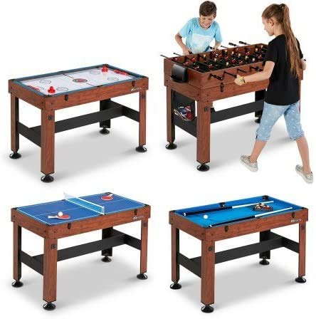 KCHEX 54' 4-in-1 Combo Entertainment Game Table with Soccer, Slide Hockey, Table Tennis, and Billiards (54', 4-in-1 Games)