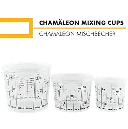 Chamäleon 385ml MISCHBECHER mit Deckel FARBMISCHBECHER LACKMISCHBECHER Skala (25)