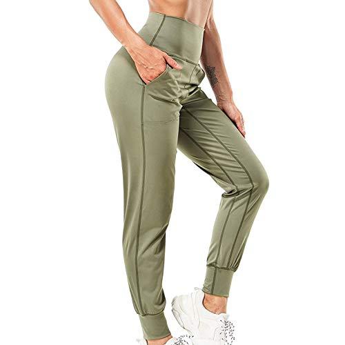 Pantalones Deportivos Suelto de Color Sólido para Mujer Pantalón Push Up de Cintura Alta Mallas de Deporte Transpirables y Cómodo Leggings Casual Suave y Ligero Ideal para Training Yoga y Pilates