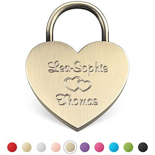 LIEBESSCHLOSS-FACTORY Herz-Schloss Antik-Gold mit Gravur und Schlüssel, gratis Geschenkbox uvm. Jetzt graviertes Liebes-Schloss in Herzform gestalten!
