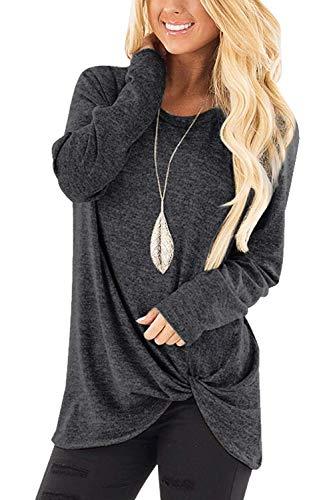 Xpenyo Camisetas de manga larga con cuello redondo irregular y ajuste holgado para mujer con diseño frontal cruzado, color gris XL