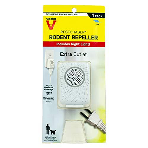Victor M751PS 1 Unit Pestchaser Rodent Repellent w/Nightlight & Extra Outlet,White
