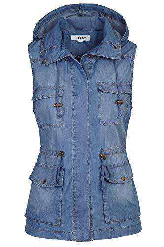 FASHION BOOMY Women's Safari Anorak Vest - Military Hooded Sleeveless Outerwear - Regular and Plus Sizes Medium Lt Blue
