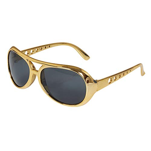 Bristol Novelty BA243 Rock Star Brille, Gold, Herren, Einheitsgröße