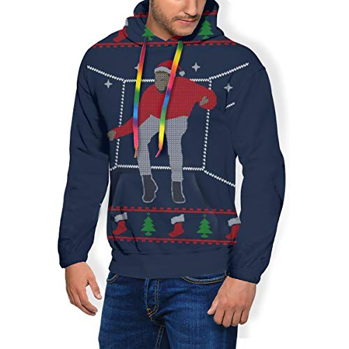 Hotline Bling Santa Drake Dancing Christmas Strickmuster Herren Mode Sweatshirt Hoodie Kapuzenpullover Taschen Plus Samt Gr. Medium, Schwarz