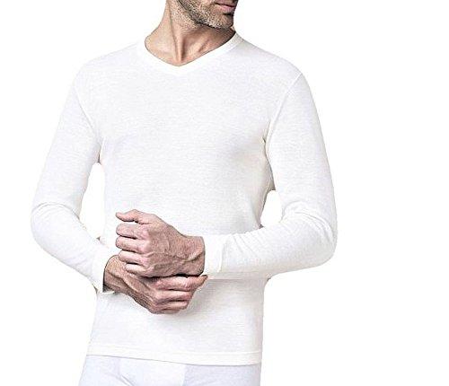 NOTTINGHAM Confezione 2 Pezzi Canottiera Manica Lunga Scollo A V Uomo Lana E Cotone - Colore Bianco -Lana Fuori e Cotone sulla Pelle. Contenuto di Lana al 50%