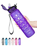 SLUXKE Trinkflasche - Tritan Wasserflasche - 1000ml -Auslaufsicher BPA-frei mit Motivationszeitmarkierung 1 klick Öffnen Für Kinder, Schule,Fahrrad,Gym,Yoga,...