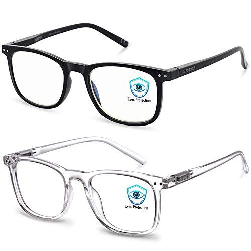 Blue Light Blocking Glasses, 2Pack Cut UV400 Computer Glasses for Anti Eyestrain (Black + Crystal)