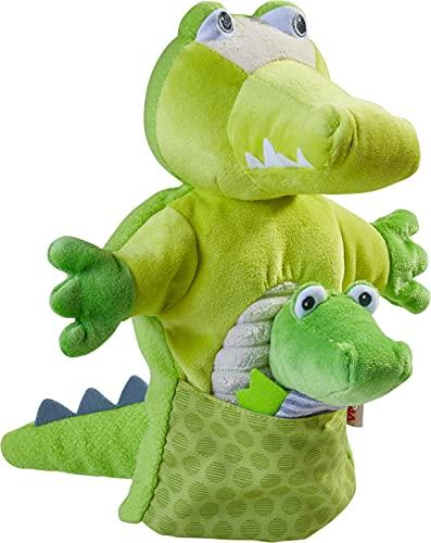 HABA 305754 - Handpuppe Krokodil mit Baby, Handpuppe ab 1.5 Jahren