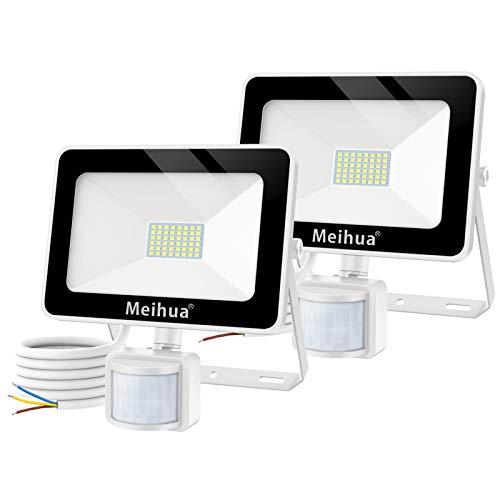 MEIHUA 35W Lumières LED Sécurité avec détecteur de mouvement, Projecteurs LED puissant en 6500K blanc froid Eclairage 3 Modes facile à régler étanche IP66 pour éclairer Chemin, Terrasse et Escalier