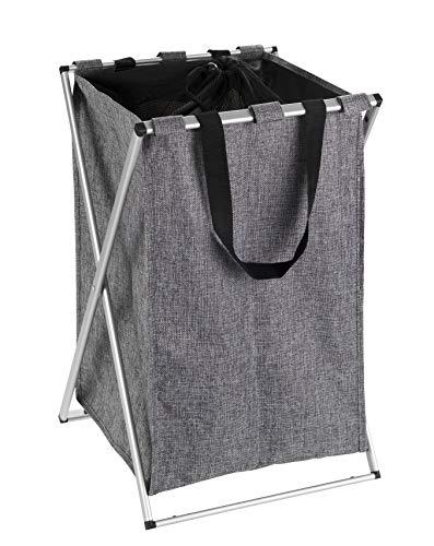 WENKO Panier à linge Uno gris chiné - Corbeille à linge Capacité: 52 l, Polyester, 35 x 57 x 38 cm, Gris