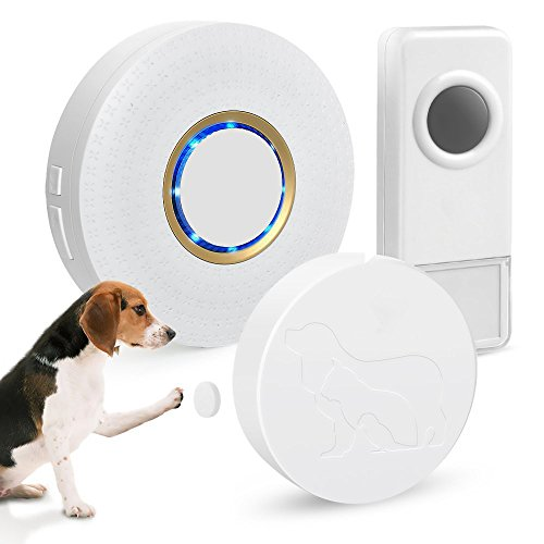 ELEPOWSTAR Wireless Doorbell Sensitive Pets Training Waterproof Door Bells Kit Ring by Paws and...