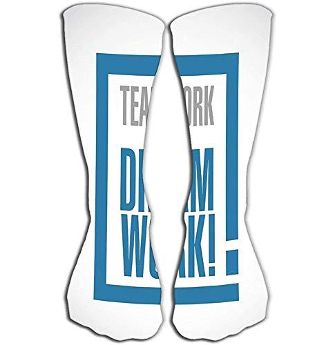 High Socks Stocking teamwork maakt droom werk uitroepbox bericht geïsoleerd over witte achtergrond Gevarieerde Tegel lengte 19.7