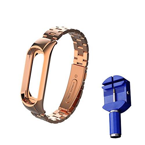 WANFEI Pulsera Xiaomi Mi Band 3 Correa, Band 3 Correa de Metal Pulseras de Repuesto Correa de Recambio Brazalete Extensibles para Xiaomi Mi Band 3 (No Sensor/No Host) (Oro Rosa)