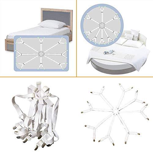 Hete-supply Bettlakenverschlüsse, Lakenfixiergurt, rutschfeste, verstellbare, kreuzweise befestigte Lakenbandgurte Greifer Hosenträger für Bettlaken, Matratzenbezüge