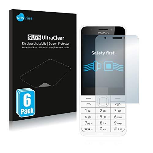 Savvies 6X Schutzfolie kompatibel mit Nokia 230 Bildschirmschutz-Folie Ultra-transparent