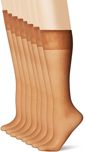 L'eggs Women's Plus-Size Everyday Knee High Sheer Toe (Pack Of 8), Suntan, One Size