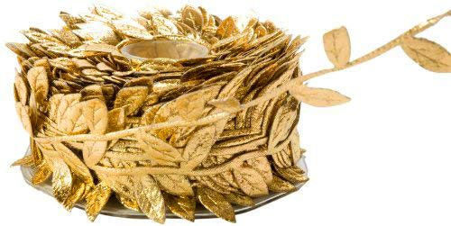 Leaf Garland Ribbon Trims, roll of 30 Yards, Great for Craft Making and Scrap Booking (Metallic Gold)