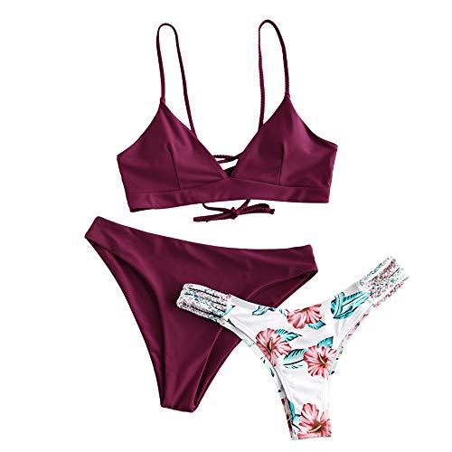 ZAFUL Women Swimwear Adjustable Back Criss-Cross Braided Spaghetti Strap Flower Bikini Set (L, Red Wine-Three Pieces)