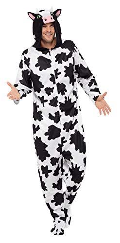 Smiffy's-55000M Disfraz de Vaca, con Traje Entero con Capucha, Color Negro y Blanco, M-Tamao 38'-40' (55000M)