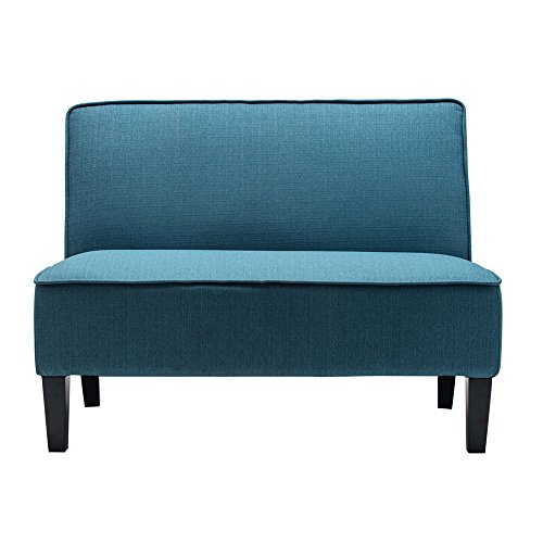 Cushioned Armless Settee Loveseat Linen Sofa Couch Home Casual Living Room Recliner (Blue)