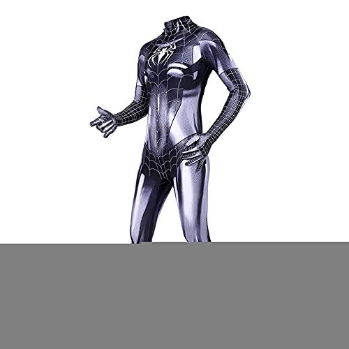 KIDsportxie Chat Noir Symbiose Spiderman Costume Adulte Enfant Anniversaire Combinaison Fille Halloween Noël Déguisement Carnaval Thème Fête Costume,Black-Kid (95~115cm)