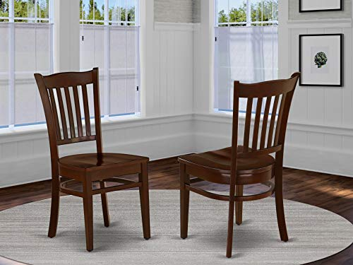East West Furniture GRC-MAH-W Groton Dining Chair With Wood Seat In Mahogany Finish (Set of 2)