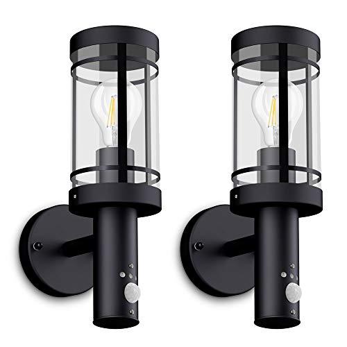 2 Stück SSC-LUXon® LED Wandleuchte MOVI - Laterne mit Bewegungsmelder für Außen IP44 in schwarz inkl. OSRAM LED E27 6W warmweiß