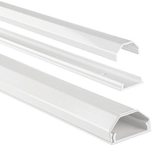 Hama Stabiler Kabelkanal aus Aluminium weiß (1,1 Meter Länge, für 5 Kabel, robuste eckige Metall Kabelabdeckung)