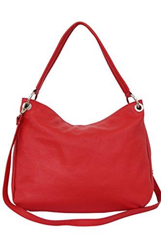 AMBRA Moda Damen echt Ledertasche Handtasche Schultertasche Beutel Shopper Umhängtasche GL002 Viele Farben (Rot)