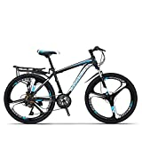 QJWY-Home Freno de Disco Unisex de 24 velocidades y 26 Pulgadas Bicicletas montaña Todoterreno de Tres Pines de una Rueda MTB -K Knife Wheel-Black and Blue 24 Speed 26 Inches