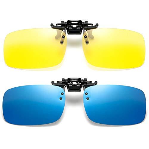 2 pares de gafas de sol polarizadas myopia Clip On Flip Up Night Vision Antideslumbrante para hombres Mujeres UV400 para conducir Golf Shooting Pesca Caza Deportes al aire libre Funciona con caja