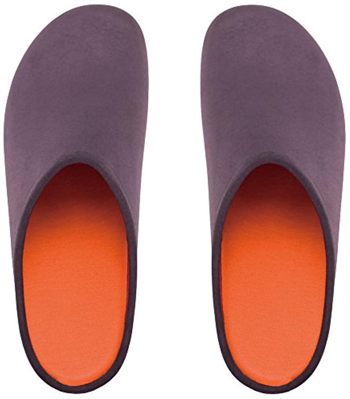 ログ常にさておきプレミアムルームシューズ「フットローブ ピエモンテ / footrobe Piemonte」プレーン(チャコール)+フェルトインソール(オレンジ)セット女性用 25.0cm