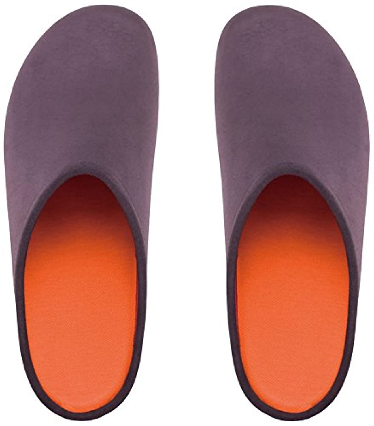 取り除く自動的に粘土プレミアムルームシューズ「フットローブ ピエモンテ / footrobe Piemonte」プレーン(チャコール)+フェルトインソール(オレンジ)セット女性用 25.0cm