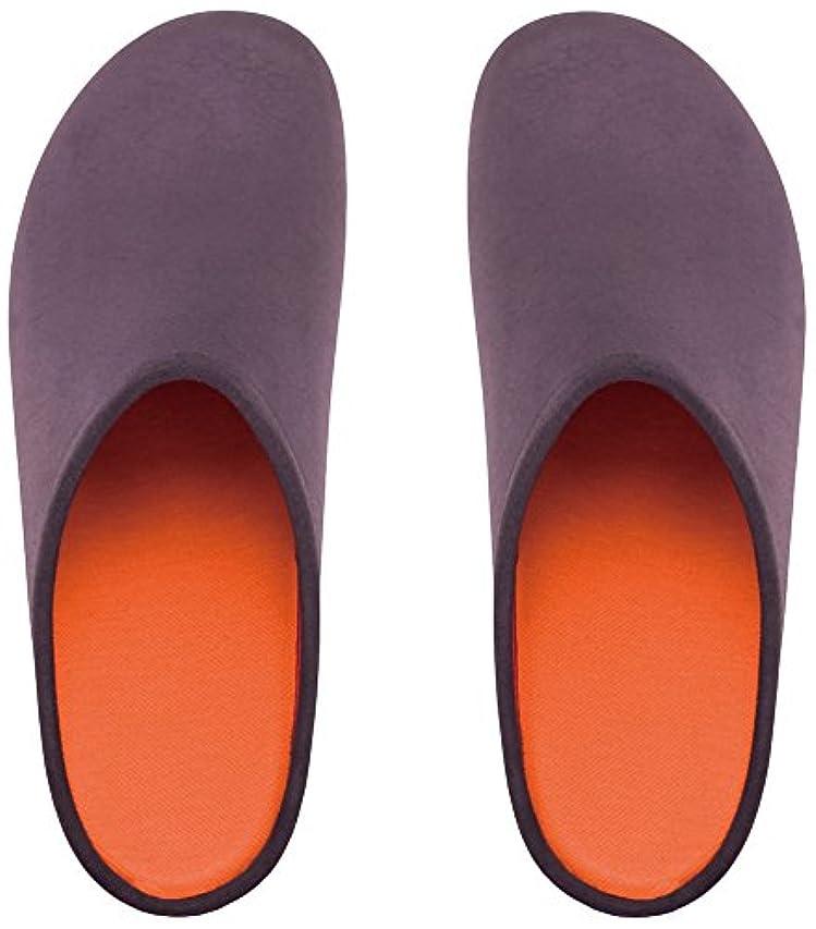 フレームワーク宣伝オゾンプレミアムルームシューズ「フットローブ ピエモンテ / footrobe Piemonte」プレーン(チャコール)+フェルトインソール(オレンジ)セット女性用 25.0cm