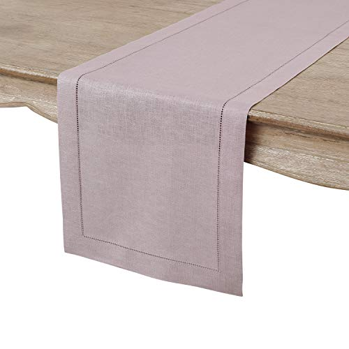Solino Home 100% Pure Linen Hemstitch Table Runner - 14 x 60 Inch, Handcrafted from European Flax, Machine Washable Classic Hemstitch - Lilac
