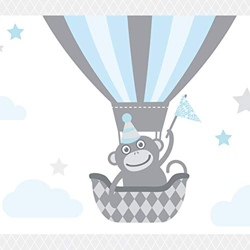 Anna Wand Maxi-Bordüre selbstklebend HOT AIR Balloons - Wandbordüre Kinderzimmer/Babyzimmer mit Tieren in Heißluftballons in Hell-Blau/Grau...
